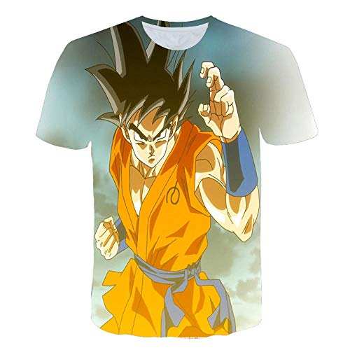 TJJF Camiseta de Dibujos Animados de Verano para Hombres nuevos Impresión 3D Camiseta Informal Negra de Sayan Son Goku