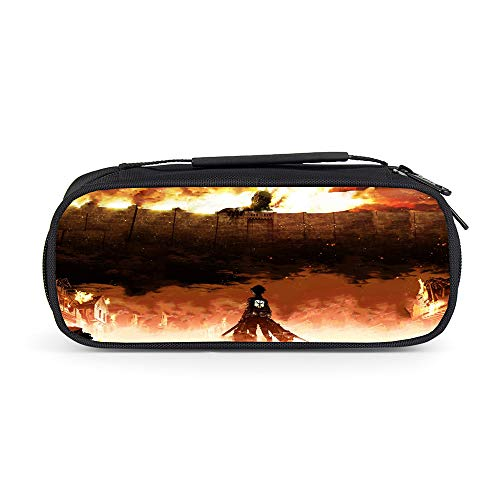 Attack on Titan Hermosa Caja de lápices Bolso de Maquillaje cosmético Bolsa de Herramientas Bolsa de Almacenamiento Bolsa de Maquillaje cosmético Niños (Color : Black23, Size : 21 X 10 X 7cm)