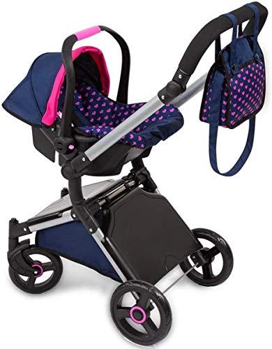 Bayer Design 18254AA Puppenwagen City Cruiser, Puppenwagengestell mit Autositz Easy Go, höhenverstellbar, zusammenklappbar, modern, blau mit Einhornmotiv u. Herzenmuster