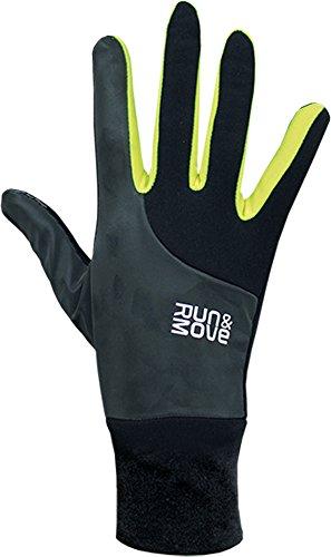 Run&Move Pro-T-Action all-weather hardloophandschoenen zwart/neon touchscreen winddicht reflecterend