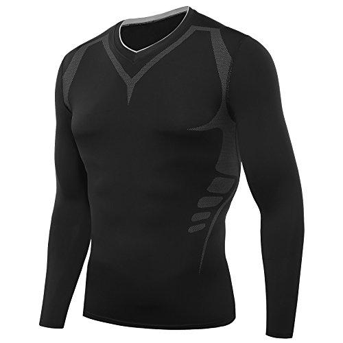 Amzsport, maglietta da uomo a compressione, a maniche lunghe, funzione BaseLayer, AMZB00-L, nero, L