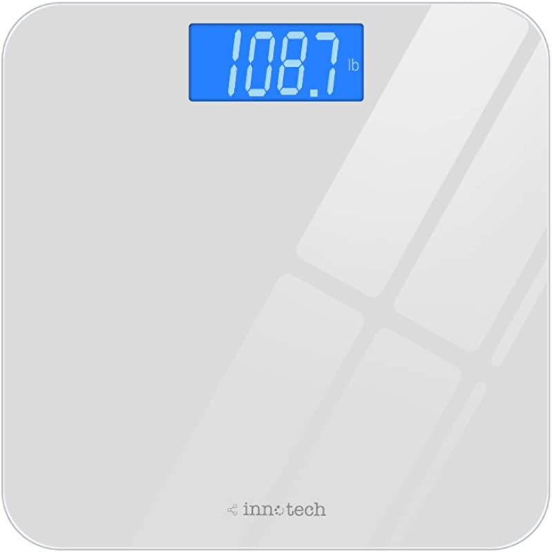 Innotech Digital Bathroom Scale With Easy To Read Backlit LCD White