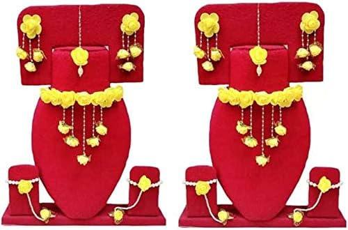 Riya Handicraft Women's Fabric Paper Plastic Rose Flower Jewelry Set Beautiful Great Gift
