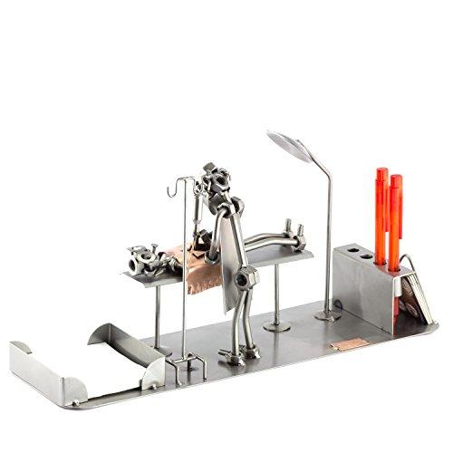 Steelman24 I Schraubenmännchen Op-Tisch Schreibtisch Organizer I Made in Germany I Handarbeit I Geschenkidee I Stahlfigur I Metallfigur I Metallmännchen