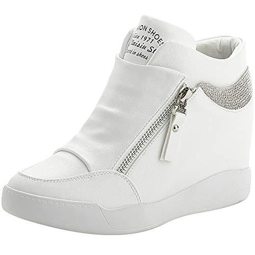 rismart Mujer Cuña Plataforma Botín Elegante Deportivos Zapatillas Zapatos SN15018(Blanco,38 EU)