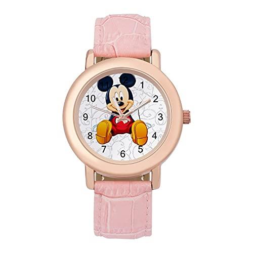 Mickey Mouse MinnieLadies correa de cuero reloj de cuarzo 2266 espejo de cristal redondo rosa accesorios casuales moda temperamento 1.5 pulgadas
