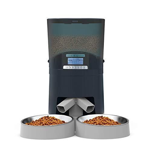 honeyguaridan 7L Futterautomat Katzen&Hunde mit 2-Wege-Splitter, Automatischer Futterspender für Hunde mit Zwei Stahlschalen, Portionskontrolle, Sprachaufzeichnung, bis zu 6 Mahlzeiten pro Tag