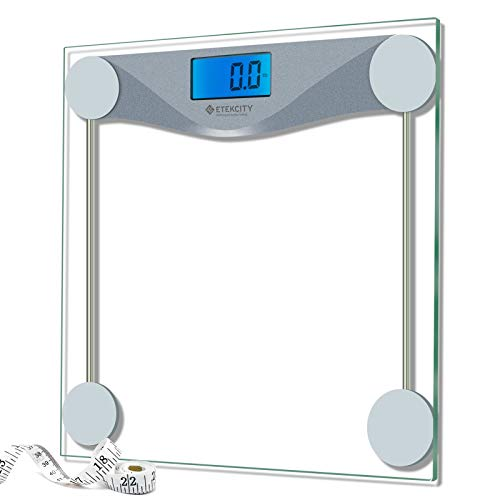 Etekcity Digital Bathroom Body Weight Scale, High Precision Smart Step-on Technology, Tempered Glass, Backlit Display, Body Tape Measure, 400 lb/180 kg
