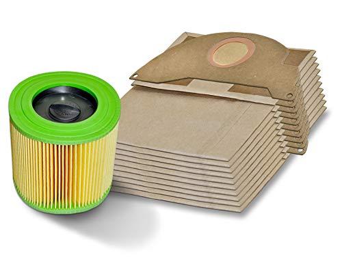 Invest 10 Staubsaugerbeutel + Filter geeignet für Kärcher A 2004 A 2024 A 2054 MV 2 Karcher 6.904-322 Papier-Beutel Kärcher MV2 WD2 Premium für den Trockenlauf