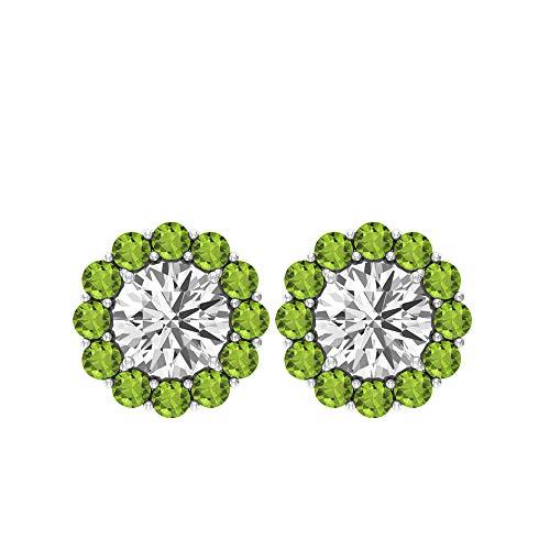 1.2 Peridot Flower Stud Earring, 1.6 Ct Moissanite Cluster Wedding Bridal Earring, SGL Certified Gemstone Earring, Women Statement Gold Earring, 14K Rose Gold, Pair