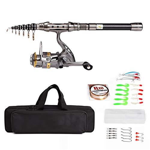 Carrete telescópico para caña de pescar Combo kit completo Spinning Reel Gear Pole Set con 100 m línea señuelos ganchos blanco 8 pies