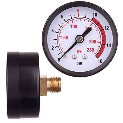 Professioneller 1/4 Zoll 230 PSI 0-16Bar 50mm Kompressor Druckluft-Manometer Messgerät Doppelskala