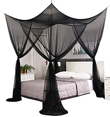 Mengersi 4 Corner Post Elegant Mosquito Net Curtain Bed Canopy for Full Queen King Bed,Suitable for Indoor Outdoor Net(Black, L87xW79xH98 inch)