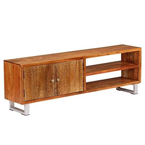 vidaXL Houten Tv-meubel met Bewerkte Deuren Massief Televisiemeubel Tv-kast