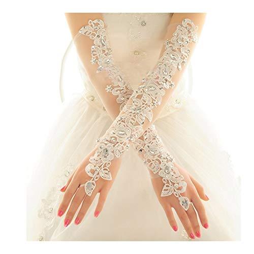 Länge Langes Brautkleid Handschuhe Verbandsmull Stickerei der eleganten Frauen-Spitze-Brauthandschuhe langlebig (Color : Ivory)