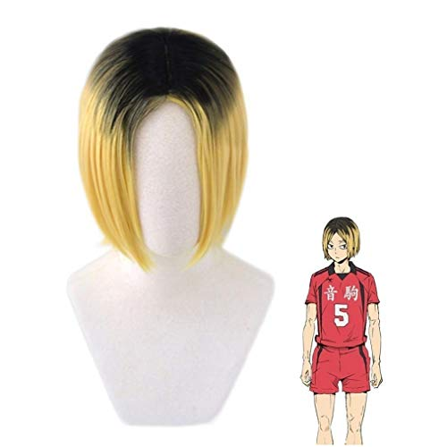 Short Blonde Kozume Kenma Cosplay Wigs for Amine Haikyuu Costume Synthetic Ombre Short Blonde Yellow Hair Wig for Party Halloween (You Need Style It By Yourself)