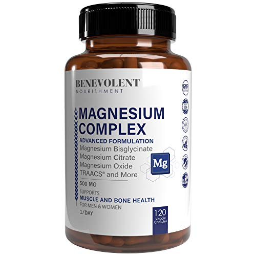 Magnesium Complex 500mg - Magnesium Citrate, Oxide, Taurate, Bisglycinate Chelate TRAACS - Max Absorption Supplement for Sleep, Leg Cramps, Muscle Relaxation, Headaches - 120 Vegan, Non-GMO Capsules