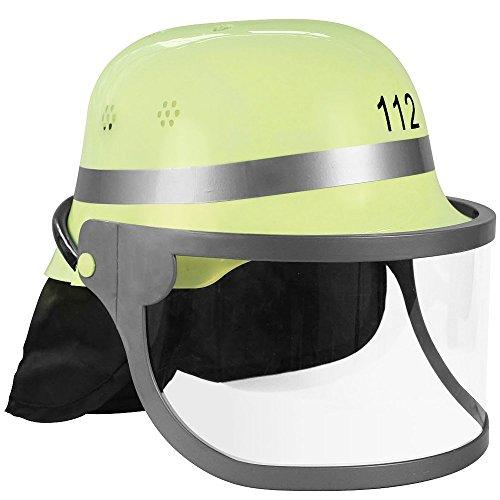 Trendario Feuerwehrhelm Für Kinder und Erwachsene, verstellbar mit Klappvisier & Nackentuch - Deutsche Ausführung in Gelb - ideal für Karneval & Mottopartys Kostüm