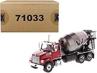 Western Star 4700 SF Concrete Mixer Metallic Red with Gray Body 1/50 Diecast Model by Diecast Masters 71033