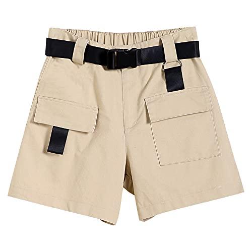 Señoras Verano Bolsillo Grande Overoles Pantalones Cortos Ocasionales Sueltos de Moda de Cintura Alta Pantalones Cortos de Moda de Calle con cinturón X-Large