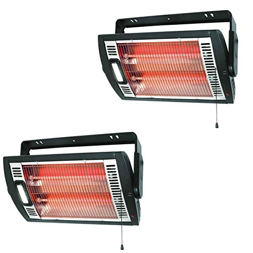 Optimus H-9010 Portable Garage Shop Electric Quartz Ceiling Mounting Heater with Halogen Lighting and Single Pull Easy To Use Operation (2 Pack)