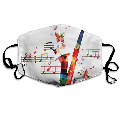 Kleurrijk saxofoon ontwerp met vlinders en bladmuziek creatieve IllustrationPrinting veiligheid mondhoes voor volwassenen