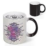 Heat Sensitive Color Changing Coffee Mug, Pattern with Brushstroke Watercolors Blurry Backdrop Folk Print Magic Milk Tea Cup for Men Women Funny Ceramic Mugs Christmas Gifts, 11 Oz