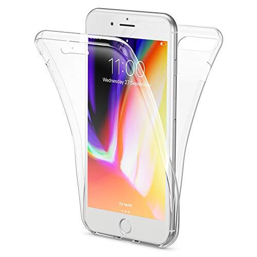 Olixar iPhone 8Plus/7Plus Full Cover Case–360Gradi Full Body Cover Anteriore + Posteriore–Protezione–Trasparente Slim Design Flexicover–Ricarica Wireless Compatibile–Trasparente