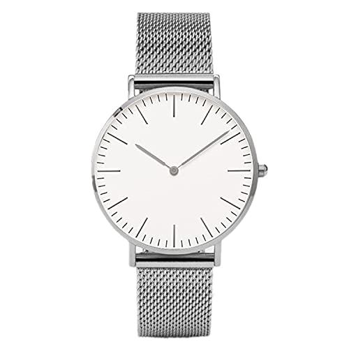 XIAOQIAO Relojes de Pulsera de Lujo, Relojes de Correa de Malla de Acero Inoxidable para Mujer, Relojes de Cuarzo Relojes para Mujer, Relojes para Hombres (Color : Silver White)