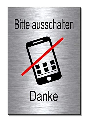 Handyverbot-Handy ausschalten-Symbol-Schild 150 x 100 x 3 mm-Aluminium Edelstahloptik silber mattgebürstet Hinweisschild (1905-19 mit Klebepats)