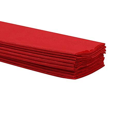 Rancheng Papier crépon Couleur unie 10feuilles 50cmx100cm Papier Origami Papier Emballage pour Fleurs Cadeau Artisanats rouge