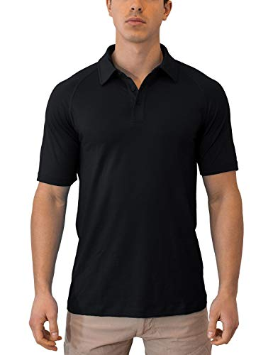 Woolx Men's Summit Lightweight Breathable Merino Wool Short Sleeve Polo Shirt, Black, Small