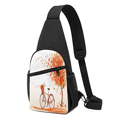 JHUIK Árbol de otoño con bicicleta vieja envejecida y bolsas de arbolito de árbol de otoño, multiusos, bandolera, bandolera, mochila de hombro, ligera, divertida, pequeña, mini mochila organizadora de