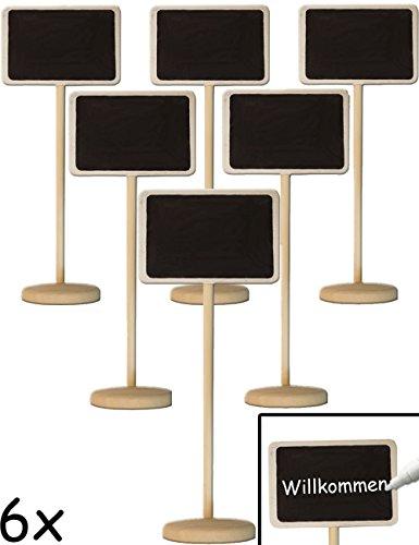 Home Tools.EU®–6x clásica mesa pizarra madera Memo con Stand de pie escribir | para buffet, Fiesta, Fiesta, Boda, Decoración, acabado vintage rústico, Juego de 6