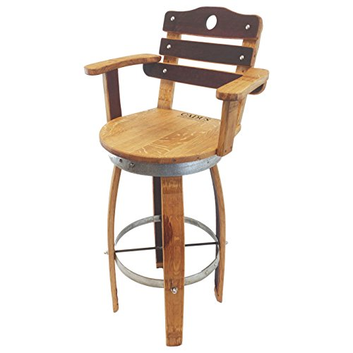 Central Coast Creations Swivel Top Wine Barrel Bar Stool with Stave Backrest Wine Barrel Furniture Rustic 30' Sit Height, Regular Leg Style (Brown Color Facing Outside)