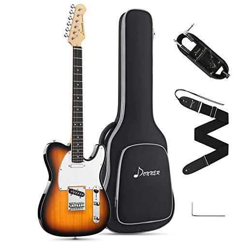 Donner Kit Guitarra Eléctrica Tamaño Completo Guitarra Electrica Telecaster 39 Pulgadas con Bolsa, Correa, Cable (Sunburst, DTC-100S)