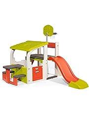Smoby 840203 - Fun Center XXL Speelhuis met glijbaan, basketbalkorf, zitvlak, voetbaldoel met net, klimwand, voor de tuin, voor kinderen vanaf 2 jaar, Rood, Groen, Wit, Grijs