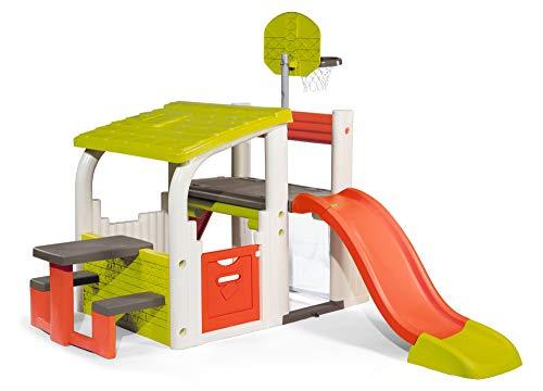 Smoby 840203 Fun Center XXL-Spielhaus mit Rutsche, Basketballkorb, Sitzfläche, Fußballtor mit Netz, Kletterwand, für den Garten für Kinder ab 2 Jahren