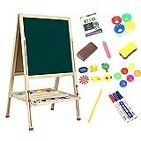 Dripex Tafel Kiefer Holz Kindertafel 49x49cm Malerei Doppelseitige Höhenverstellbar Standtafel mit Magnetische Zubehör, Kreide und Schwamm ab 4 Jahre alt (Typ-A)