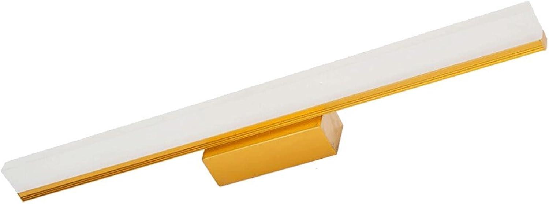 Spiegelleuchte führte Badezimmer-Badezimmer-Lichter Verfassungs-Lampen Einfache Moderne wasserdichte Anti-Fog-Edelstahl-Spiegelscheinwerfer (Farbe   Gold, gre   L60cm 9W)