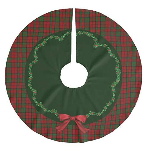 Viowr22iso Christmas Tree Skirt 122 cm, Elegant Festive Scottish Dunbar Plaid Large Xmas Tree Mat Farmhouse Christmas Decoration Tree Ornaments for Seasonal Holiday Party