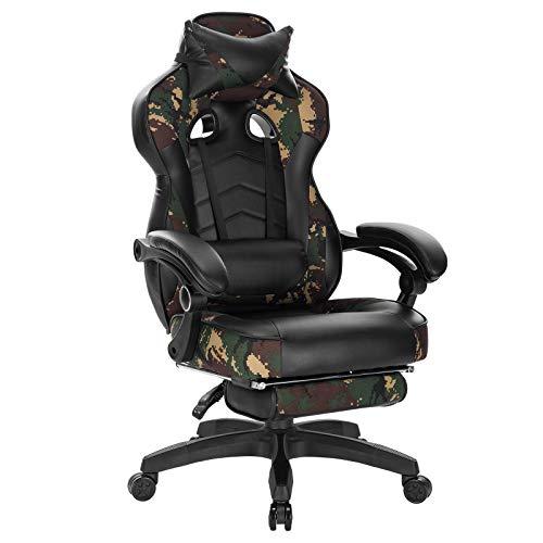 WOLTU Gaming Stuhl Racing Stuhl Bürostuhl Chefsessel Schreibtischstuhl Sportsitz mit Kopfstütze und Lendenkissen, mit Fußstütze, Kunstleder+Stoff, höhenverstellbar, Camouflage, BS71cm