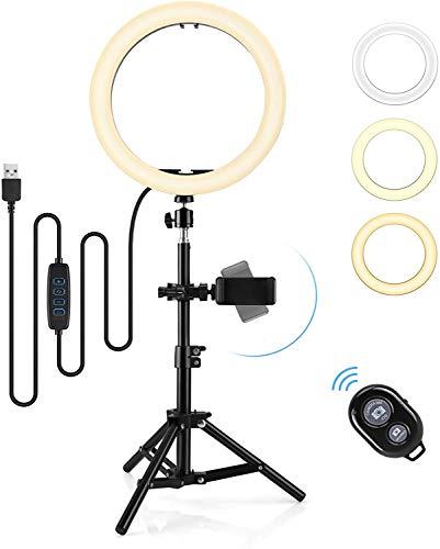 """Aro de Luz LED 10"""" 3 Colores, Hommie Anillo de Luz Trípode Ajustable 30-50cm, Aro de Luz para Móvil con Remoto Inalámbrico y 10 Brillo 3000-7000K,Trípode Giratorio de Móvil para Selfie,Youtube,TIK Tok"""