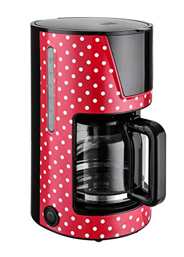 Team Kalorik Cafetière à Filtre avec Capacité 1.5 L, Verseuse en Verre, Jusqu'à 15 tasses , 900 W, Rouge/Blanc, TKG CM 1045.1 RWD