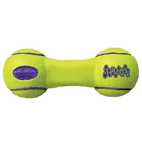 KONG - AirDog Squeaker Dumbbell - Juguete sonoro y saltarín, Tejido Pelota de Tenis - para Perros Medianos
