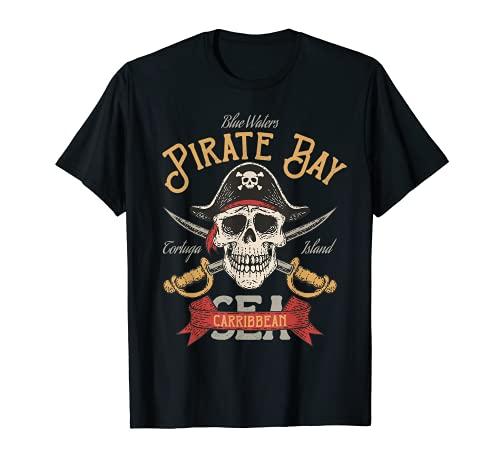 Disfraz de pirata con diseño de bahía pirata del mar Caribe Camiseta