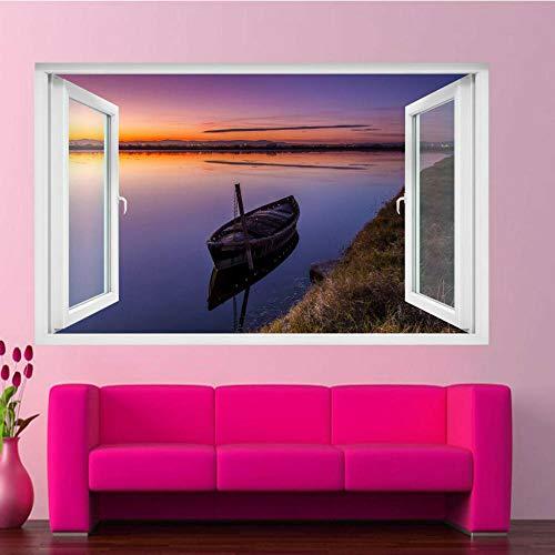 Calm Lake Barco de pesca Sunset Wall Sticker Art Mural Print Poster Room Decor Póster Arte 3D Mural 50x70cm