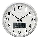 ランデックス(Landex) 掛け時計 アナログ 31cm タイムロジック 非電波 連続秒針 温度 湿度表示 シルバー YW9154SV