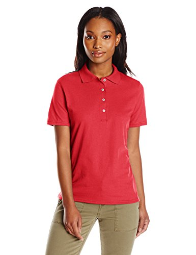 Hanes womens X-Temp Performance Polo Shirt,Deep Red,Large