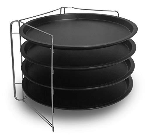 Formegolose 27535RKFG Set mit 4 tiefen Pizzablechen (32 cm), Schwarz